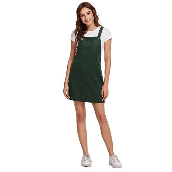 7445757df7 NWOT Green corduroy overall dress with pocket